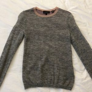 Grey cashmere sweater with sheer purple back
